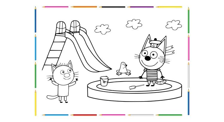 """Раскраски """"Три кота"""" из мультика: распечатать в качестве"""