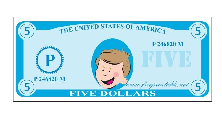 Детские купюры денег распечатать для игр
